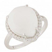 Серебряное кольцо Кристиана с белым агатом и фианитами