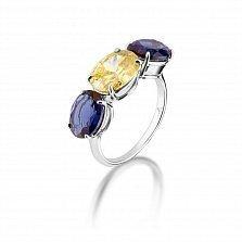Серебряное кольцо Краски востока с желтым фианитом и синим синтезированным кварцем