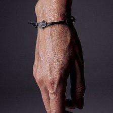 Кожаный браслет с серебром Hamsa Black с чернением