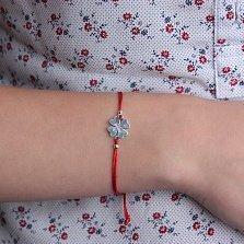 Шёлковый браслет Клеверок Be happy с серебряной вставкой