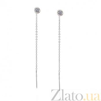 Золотые серьги-протяжки Алика в белом цвете с фианитами SVA--2102124102/Фианит/Цирконий