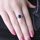 Серебряное кольцо Изольда с наносапфиром и фианитами