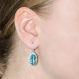Серебряные серьги-подвески с голубым кварцем Изысканность