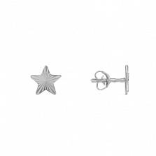 Серебряные серьги-пуссеты Яркие звездочки с алмазной насечкой