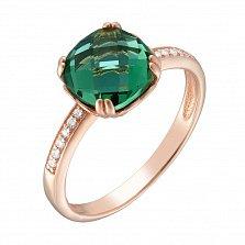 Золотое кольцо Аделаида с гидротермальным турмалином и фианитами