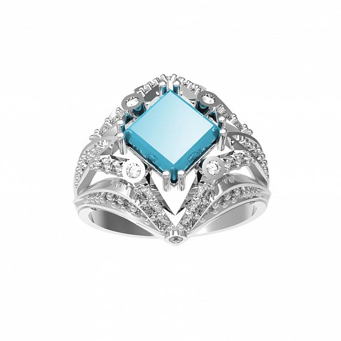 Серебряное кольцо Азиза с голубым топазом Sky Blue и фианитами 000079772