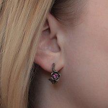 Серебряные серьги Ветки магнолии с розовыми фианитами и чернением