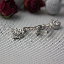 Серебряные серьги-подвески Мерцание сердец с фианитами