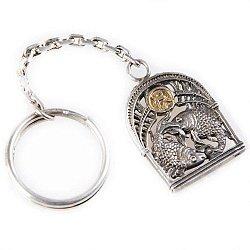 Серебряный брелок Знак зодиака Рыбы с позолотой 000004659