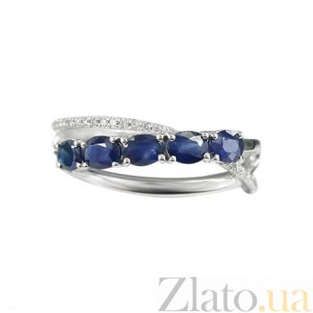 Золотое кольцо с бриллиантами и сапфирами Горные ручьи 000026841