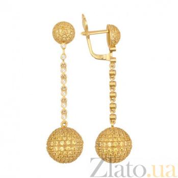 Серьги-подвески из желтого золота с белым и желтым цирконием Бритни VLT--ТТ2302