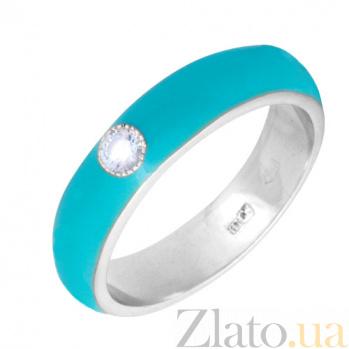 Золотое кольцо Пастель с фианитом и эмалью цвета бирюзы К220бел/бир
