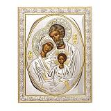 Икона с серебром Святое Семейство с инкрустацией камнями