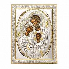 Икона с серебром Святое Семейство с инкрустацией камнями, 22х17см