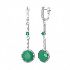 Серебряные серьги Алина с зеленым агатом и фианитами