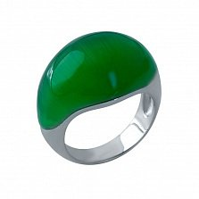 Серебряное кольцо Фирусит с зеленым кошачьим глазом