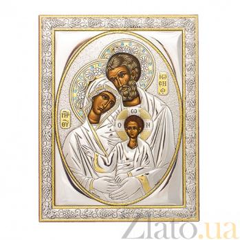 Икона с серебром Святое Семейство с инкрустацией камнями SAGСП Сем