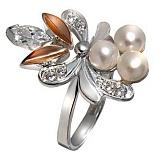 Кольцо из серебра Жар-птица с золотой вставкой, жемчугом и фианитами