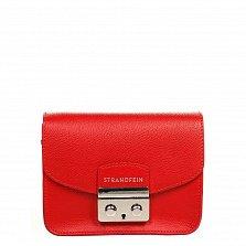 Кожаный клатч Genuine Leather 1007 красного цвета с цепочкой на плечо