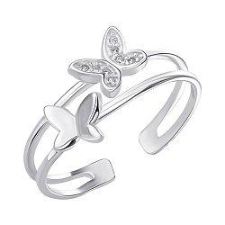 Серебряное разомкнутое кольцо с фианитами 000146110