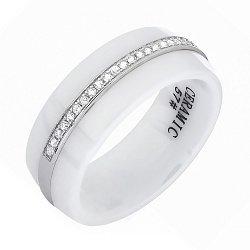 Срібне кільце Чумацький Шлях з керамікою і фіанітами 000030991
