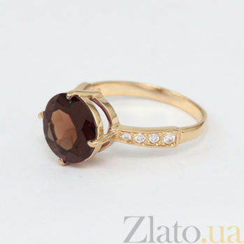 Золотое кольцо Эстель с гидротермальным раухтопазом и фианитами  000024496