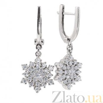 Золотые серьги с бриллиантами Снежинка KBL--С2343/бел/брил