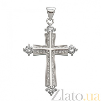 Серебряный крест с цирконием Стильный акцент ONX--131603