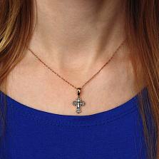 Серебряный крестик Благословение с чернением и красной позолотой