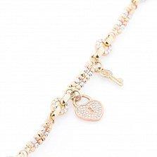 Золотой браслет Ключ от сердца с фианитами