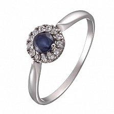 Серебряное кольцо Солнышко с сапфиром и цирконием