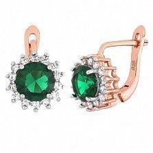 Позолоченные серебряные сережки с зеленым цирконием Джаухар