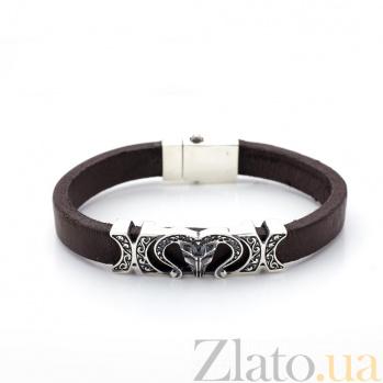Кожаный браслет с серебром Овен с чернением 000072500