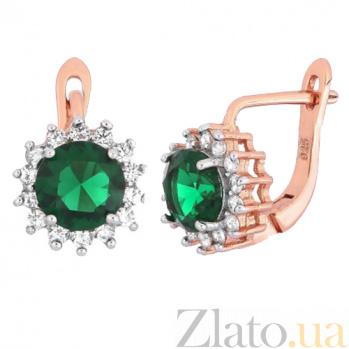 Позолоченные серебряные сережки с зеленым цирконием Джаухар SLX--СК3ФИ/475