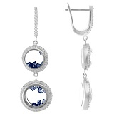 Серебряные серьги Плавающие камни с синими фианитами