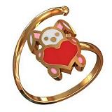 Золотое кольцо Зайка с эмалью
