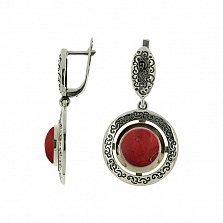Серебряные серьги-подвески Джоконда с золотыми накладками и красной яшмой