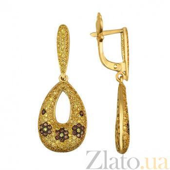 Серьги-подвески из желтого золота Цветочный узор VLT--ТТ2229-1
