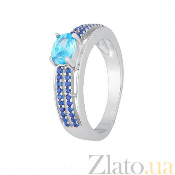 Серебряное кольцо с разноцветными фианитами Арбери 000028370