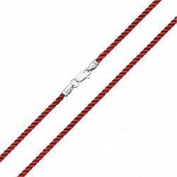 Красный крученый шелковый шнурок с серебряным замком, 2мм 000070352