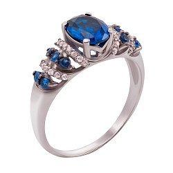 Серебряное кольцо Агнесса с гидротермальным сапфиром и синими фианитами