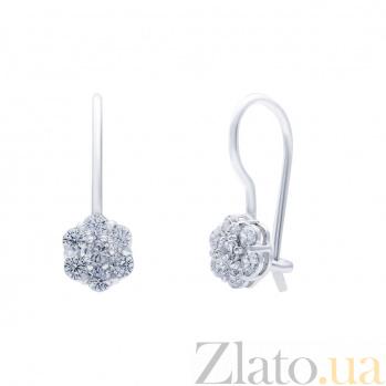 Серебряные серьги с белым цирконом Анита AQA--72012б
