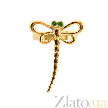 Золотая серьга-кафф с цаворитами Стрекоза ZMX--ETsav-00272_K