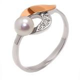 Серебряное кольцо с жемчугом и золотой вставкой Флоренция