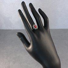 Серебряное кольцо Миллениум с имитацией коралла и белым цирконием