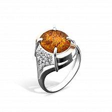 Серебряное кольцо Эстер с золотыми накладками, янтарем, фианитами и родием