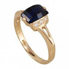 Золотое кольцо Василиса с синтезированным сапфиром и фианитами