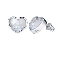 Серебряные серьги-пуссеты Сердце малое с плавающими белыми фианитами, 8x8мм