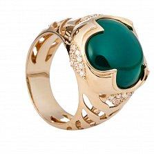 Золотое кольцо с зеленым агатом и цирконием Фируза