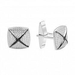 Серебряные запонки с цирконием 000141176